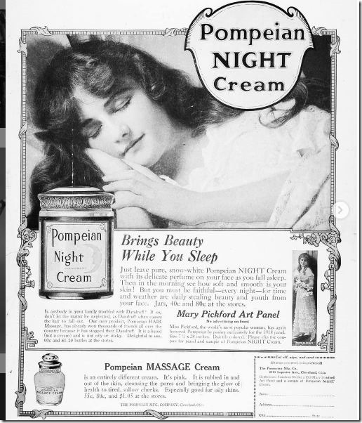 Pompeian Night Cream advertisement with Mary Pickford-1910.